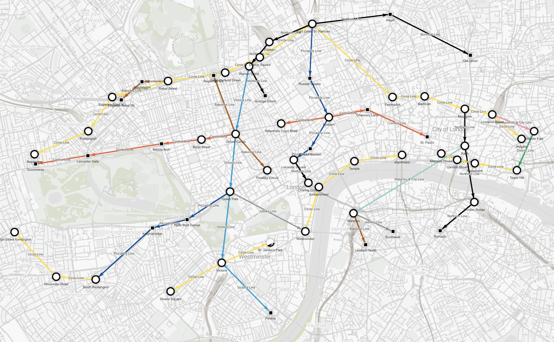 Data visualization - stations you can get to from St. Pancras in zone 1